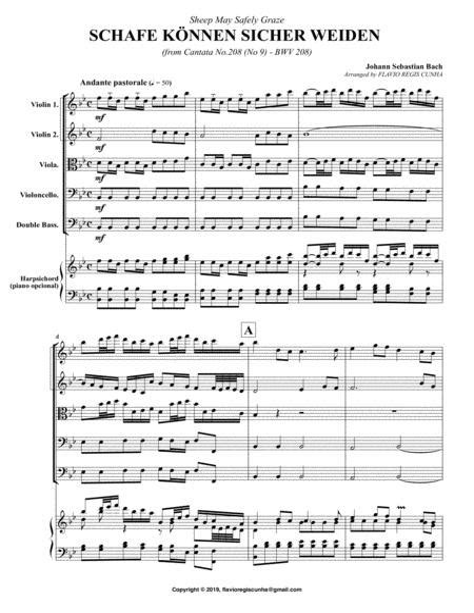Aria Schafe Knnen Sicher Weiden Sheep May Safely Graze For Strings And Harpsichord  music sheet