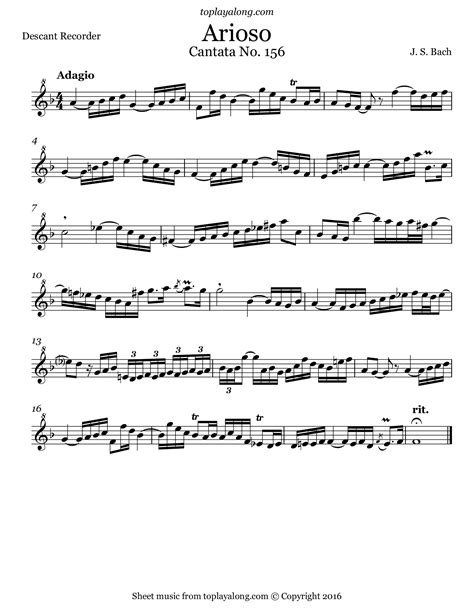 Arioso From Cantata Bwv 156 J Bach  music sheet