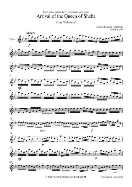 Arrival Of The Queen Of Sheba Flute Solo Short C Major  music sheet