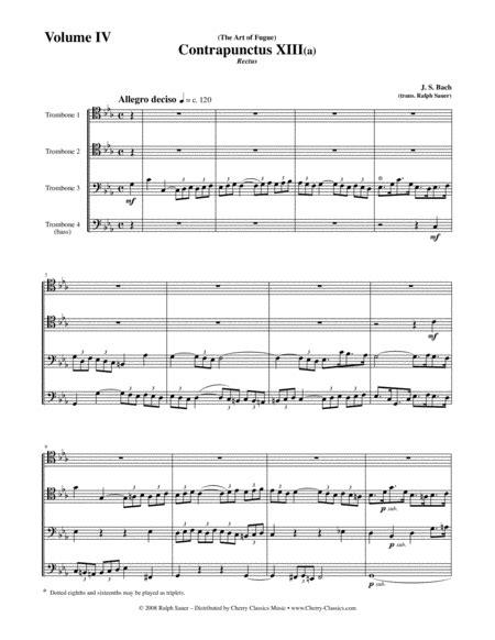 Art Of Fugue Bwv 1080 Volume 4 For Trombone Quartet  music sheet
