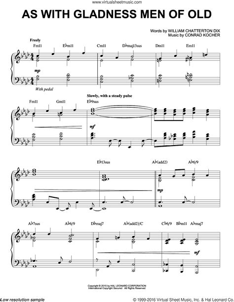As With Gladness Men Of Old Ttb  music sheet