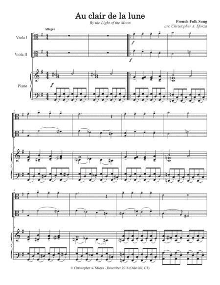 Au Clair De La Lune For Two Violas And Piano  music sheet