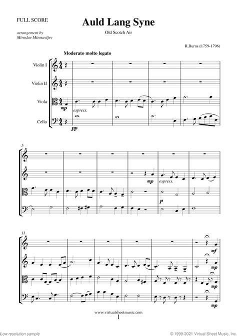 Auld Lang Syne Quartet  music sheet