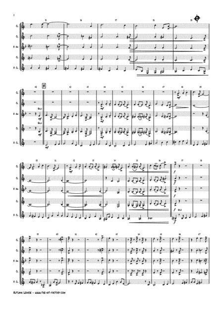 Autumn Leaves Jazz Classic Les Feuilles Mortes Clarinet Quartet  music sheet