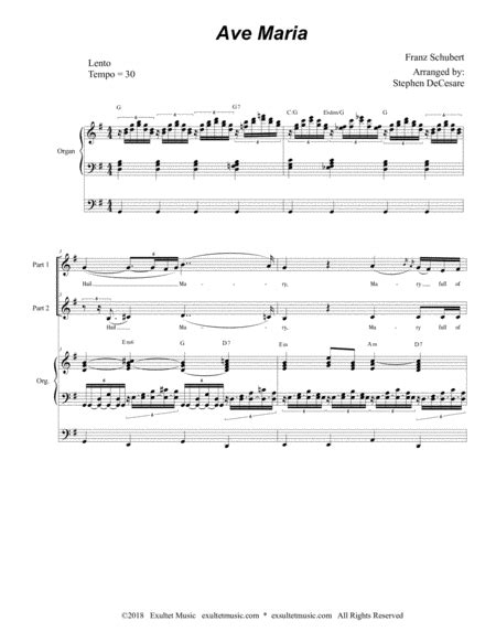 Ave Maria For 2 Part Choir English Lyrics High Key Organ Accompaniment music sheet