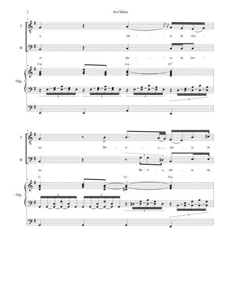 Ave Maria Portuguese Lyrics For 2 Part Choir High Key Organ Accompaniment  music sheet