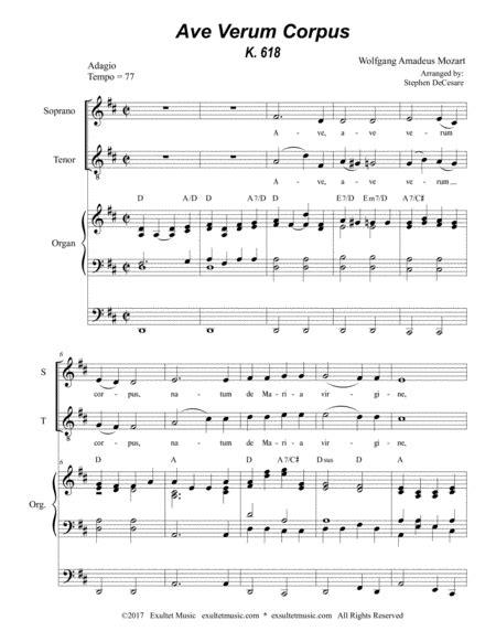Ave Verum Corpus For 2 Part Choir Organ Accompaniment music sheet