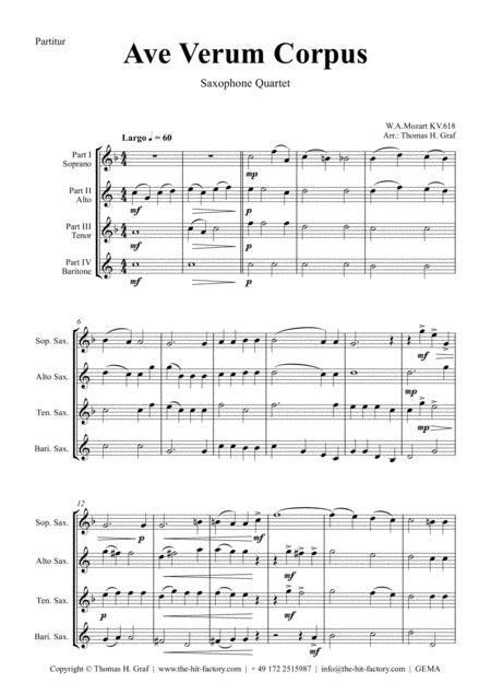 Ave Verum Corpus W A Mozart Saxophone Quartet  music sheet