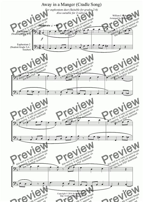Away In A Manger Cradle Song For Euphonium Duet Bass Clef 3 Or 4 Valved Suitable For Grades 2 6  music sheet