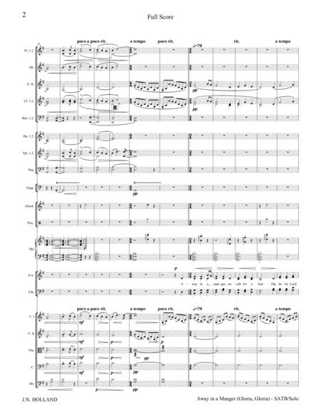 away in a manger gloria gloria all be blessed for soloist satb choir and orchestra music sheet