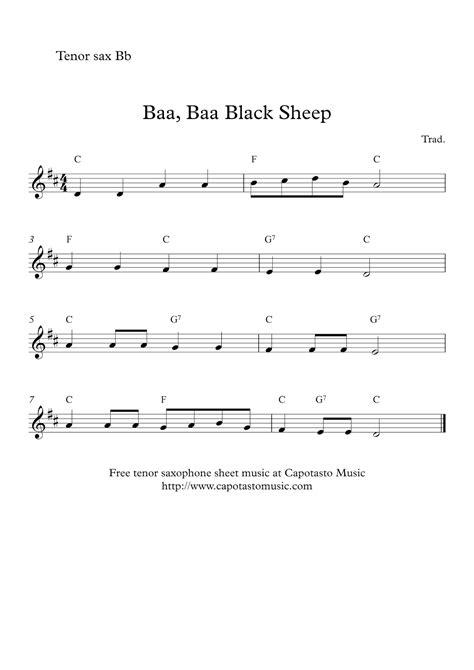 Baa Baa Black Sheep Bari Sax  music sheet