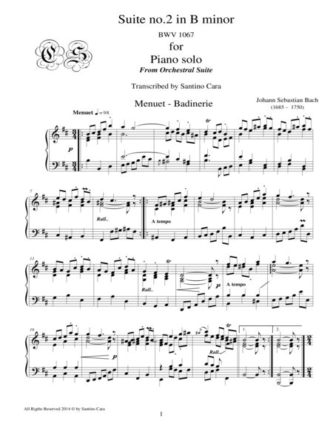 Bach Suite No 2 In B Minor Bwv 1067 7 8 Menuet Badinerie Piano Solo  music sheet