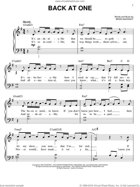 Back At One  music sheet