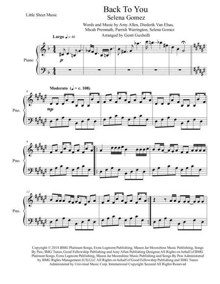 Back To You Piano Solo  music sheet