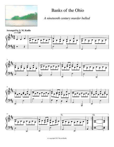 Banks Of The Ohio Easy Piano Solo  music sheet