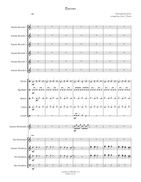 Banuwa For Orff Ensemble  music sheet
