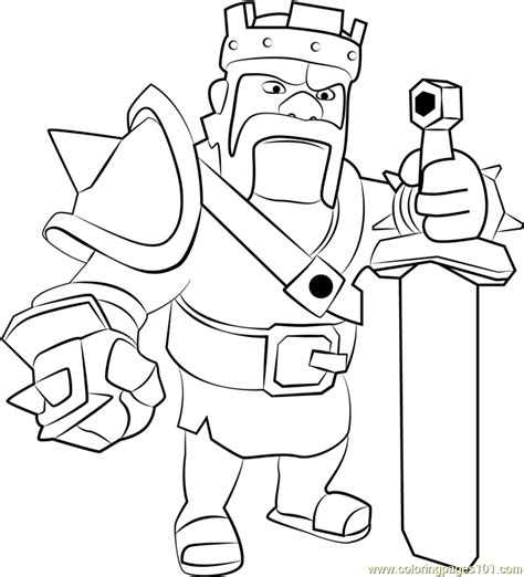 barbarian king clash of clans Coloring pages Printable