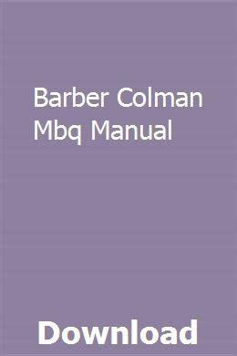free download ebooks Barber Colman Mbq Manual.pdf