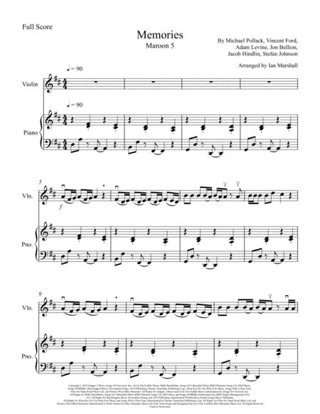 Be Lost In Memories For Violin And Piano  music sheet