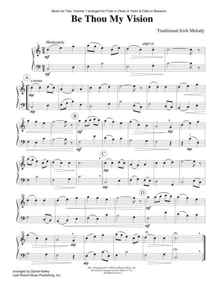 be thou my vision duet for flute or oboe or violin cello or bassoon music for two music sheet