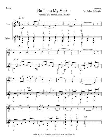 Be Thou My Vision For Flute C Instrument And Classical Guitar  music sheet