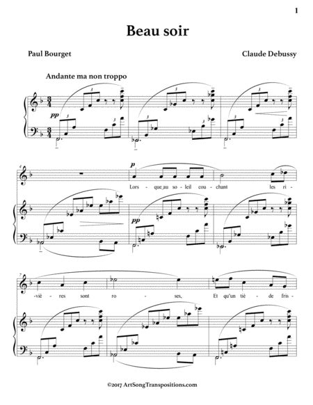 Beau Soir F Sharp Major  music sheet