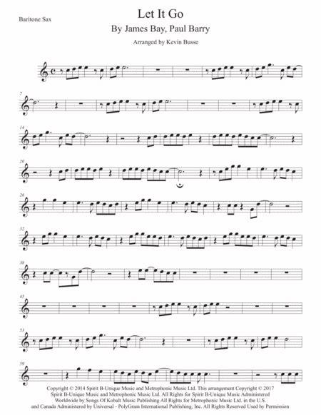 Beautiful Bari Sax Easy Key Of C  music sheet