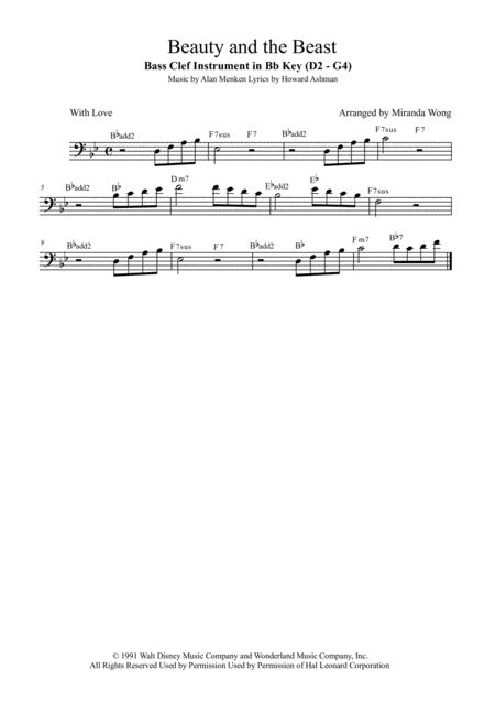 Beauty And The Beast Bass Clarinet Or Bassoon Solo In Bb With Chords  music sheet