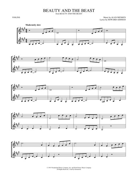 Beauty And The Beast For Violin Duet  music sheet