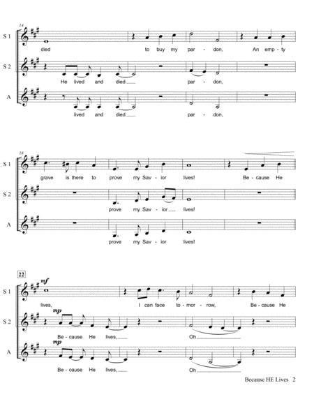 Because He Lives Ssa A Cappella  music sheet