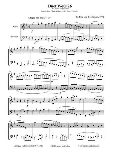 Beethoven Duet Woo 26 For Oboe Bassoon  music sheet