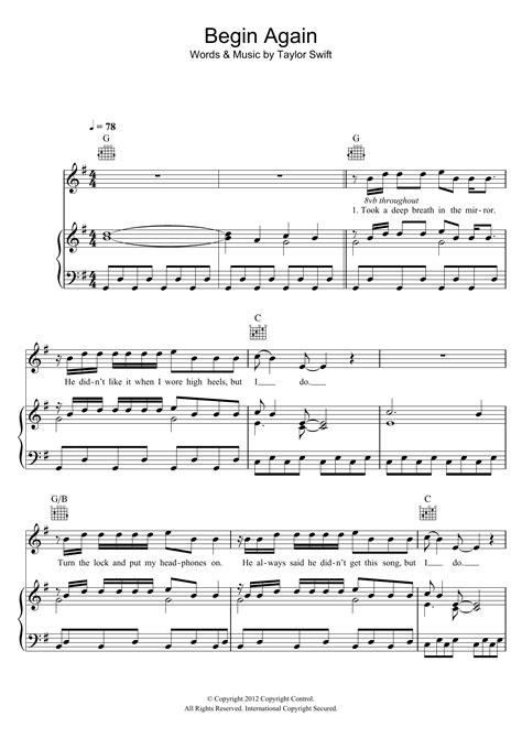 Begin Again  music sheet