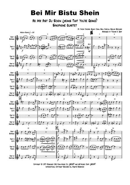Bei Mir Bistu Shein Bei Mir Bist Du Schn Means That You Re Grand Saxophone Quartet  music sheet