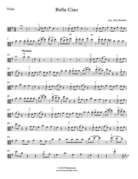 Bella Ciao For Viola And Piano  music sheet