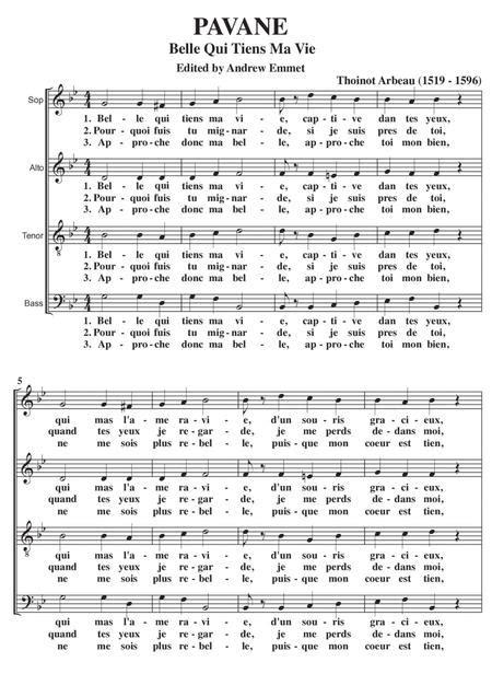 Belle Qui Tiens Ma Vie Pavane Satb A Cappella  music sheet