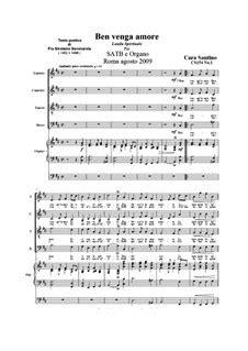 Ben Venga Amore Choir Satb And Organ  music sheet