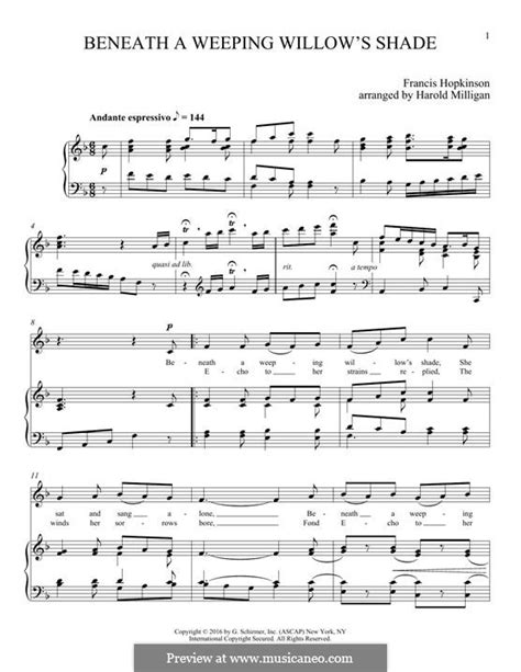 Beneath A Weeping Willows Shade  music sheet