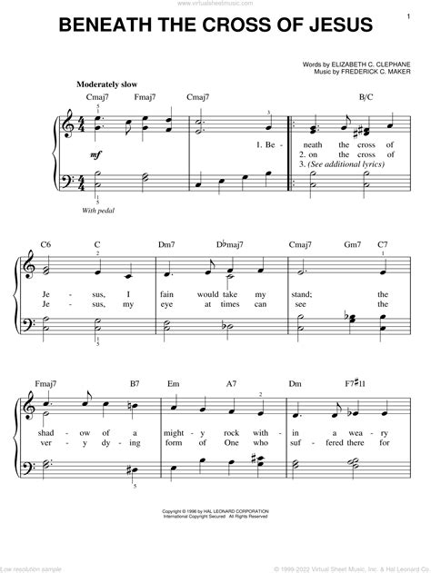 Beneath The Cross Of Jesus For Easy Piano  music sheet