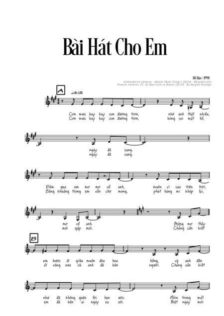 Bi Ht Cho Em  music sheet