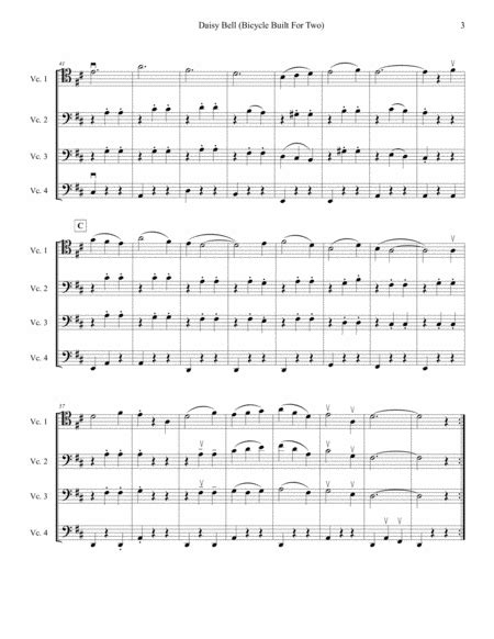 Bicycle Built For Two Arranged For Four Intermediate Cellos Cello Quartet  music sheet