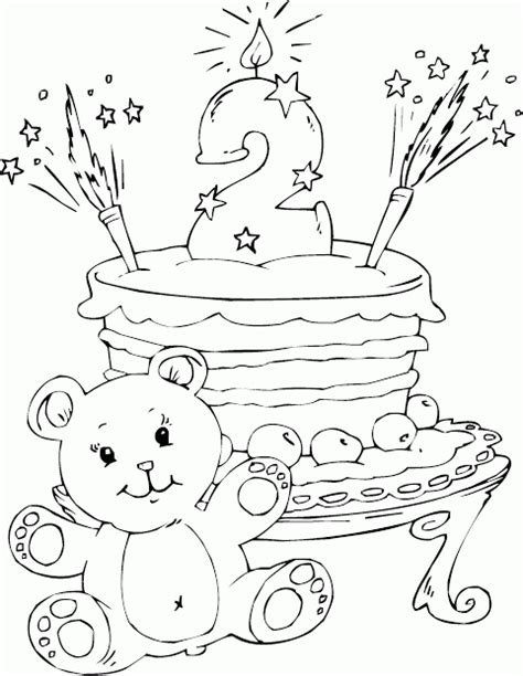 birthday cake age 2 coloring page coloring
