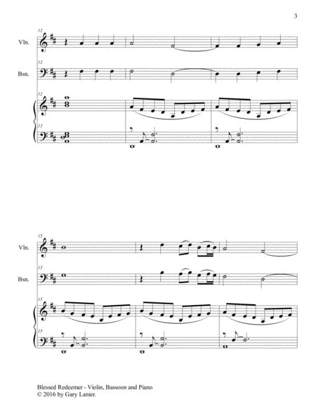 Blessed Redeemer Duet Bassoon Piano With Score Part music sheet