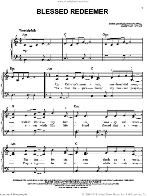 Blessed Redeemer Piano Accompaniment For Voice Viola music sheet