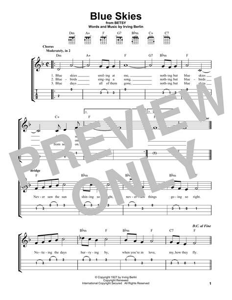 Blue Skies Ukulele Instrumental In G Major  music sheet