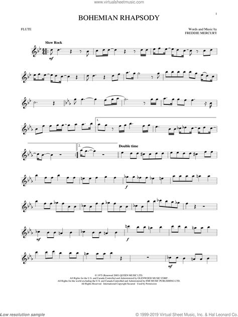 Bohemian Rhapsody For Flute And Violin  music sheet