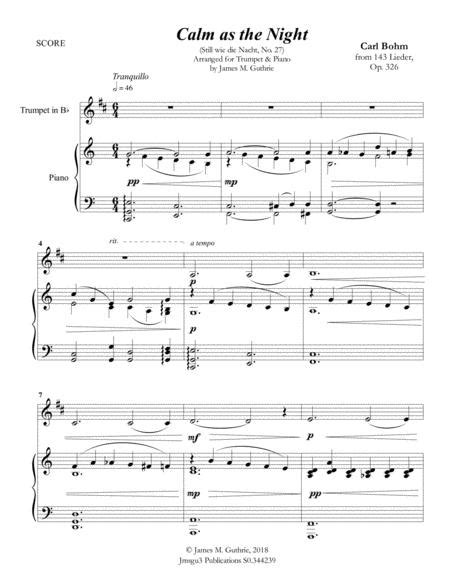 Bohm Calm As The Night For Trombone Piano  music sheet