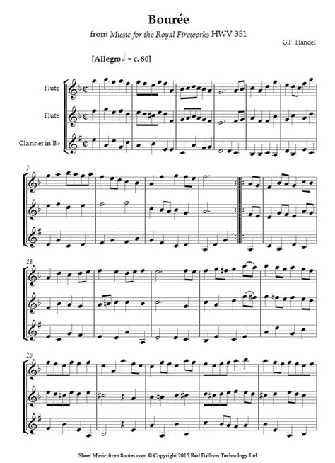 Bourree The Royal Fireworks For Elementary Piano  music sheet
