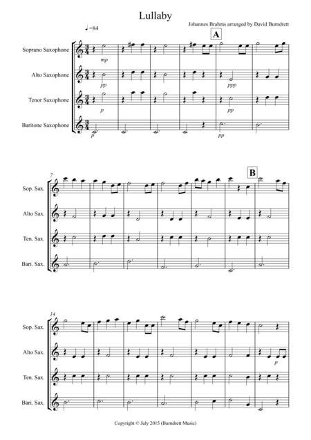 Brahms Lullaby For Saxophone Quartet  music sheet
