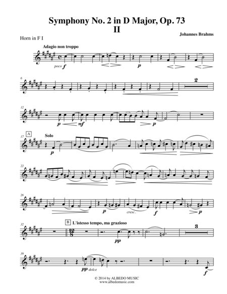 Brahms Symphony No 1 Movement Ii Horn In F 2 Transposed Part Op 68  music sheet