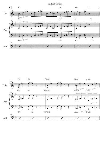 Brilliant Corners Thelonious Monk Score And Individual Parts Tenor Sax Piano Bass  music sheet